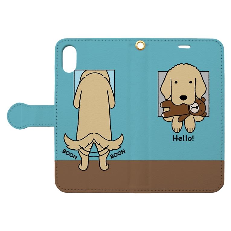 efrinmanのハロー!(ブルー) Book-style smartphone caseを開いた場合(外側)