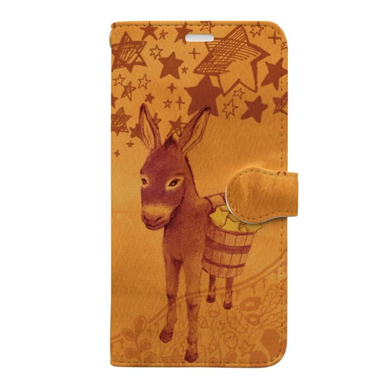マキバドリの星まきロバ Book-style smartphone case