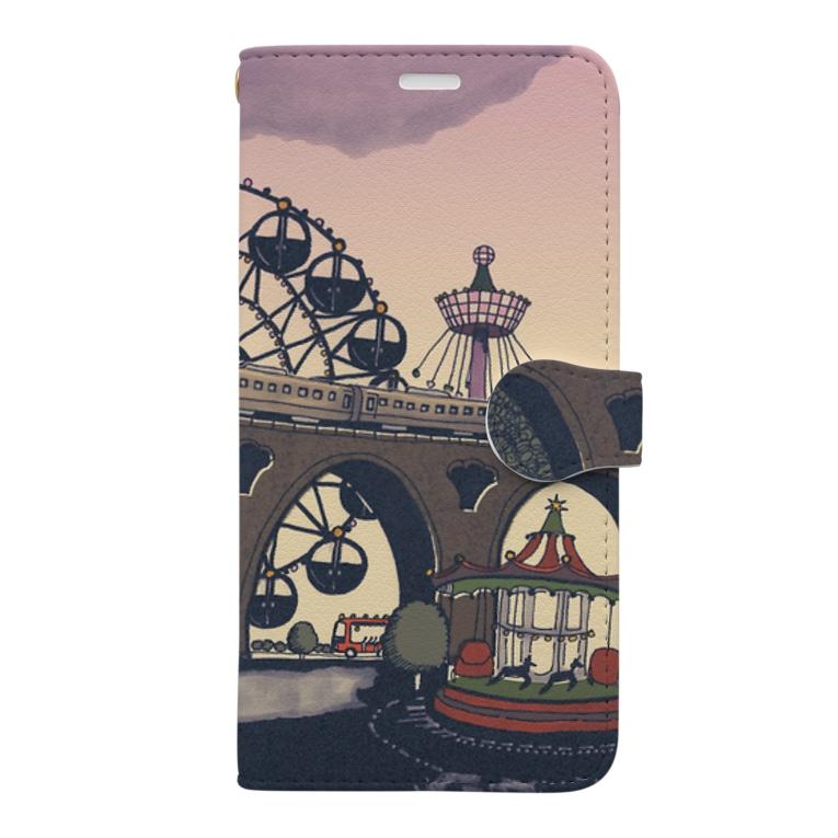 マキバドリの蒸気機関車と遊園地(ピンクパープル) Book-style smartphone case