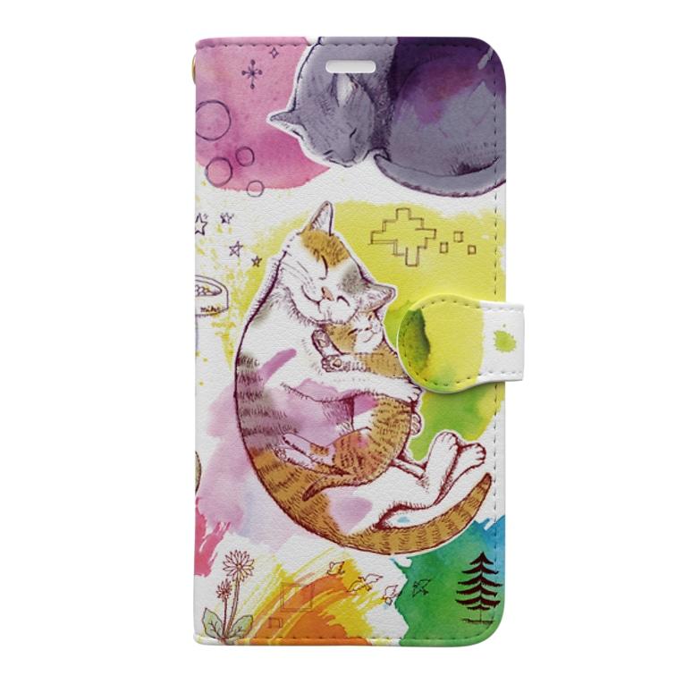 マキバドリの夢見る猫 Book-style smartphone case