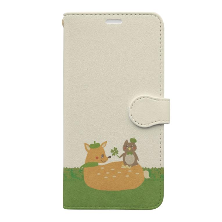 やたにまみこのiPhone 11用◆ema-emama『happiness-clover』 Book-style smartphone case