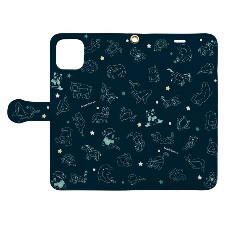 すずきいときちのアニマル大星座 Book-Style Smartphone Caseを開いた場合(外側)