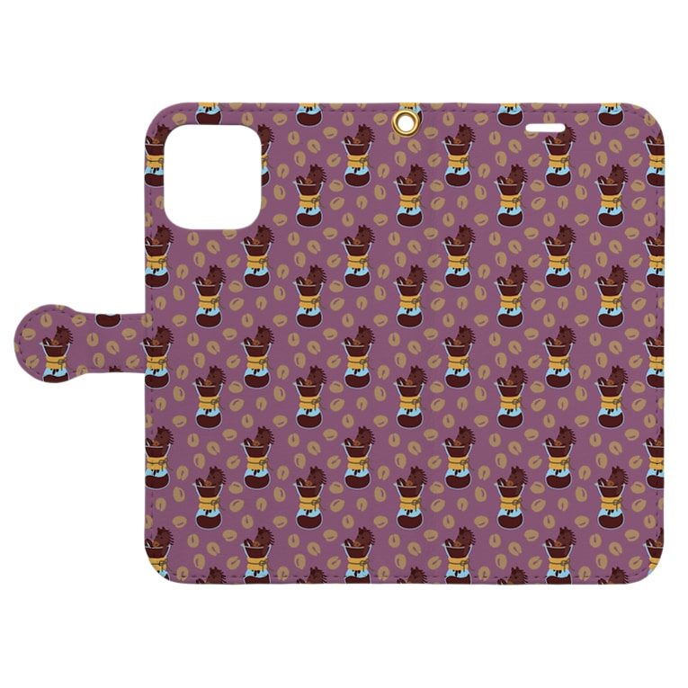 mint julepのコーヒーブラック(小豆) Book-style smartphone caseを開いた場合(外側)