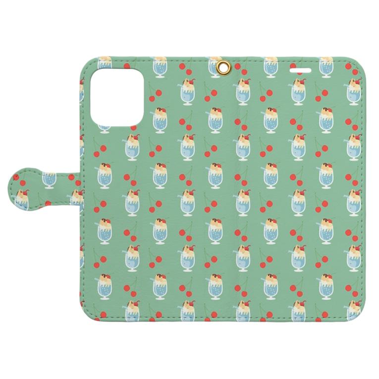 mint julepのクリームソーダにトッピング Book-style smartphone caseを開いた場合(外側)