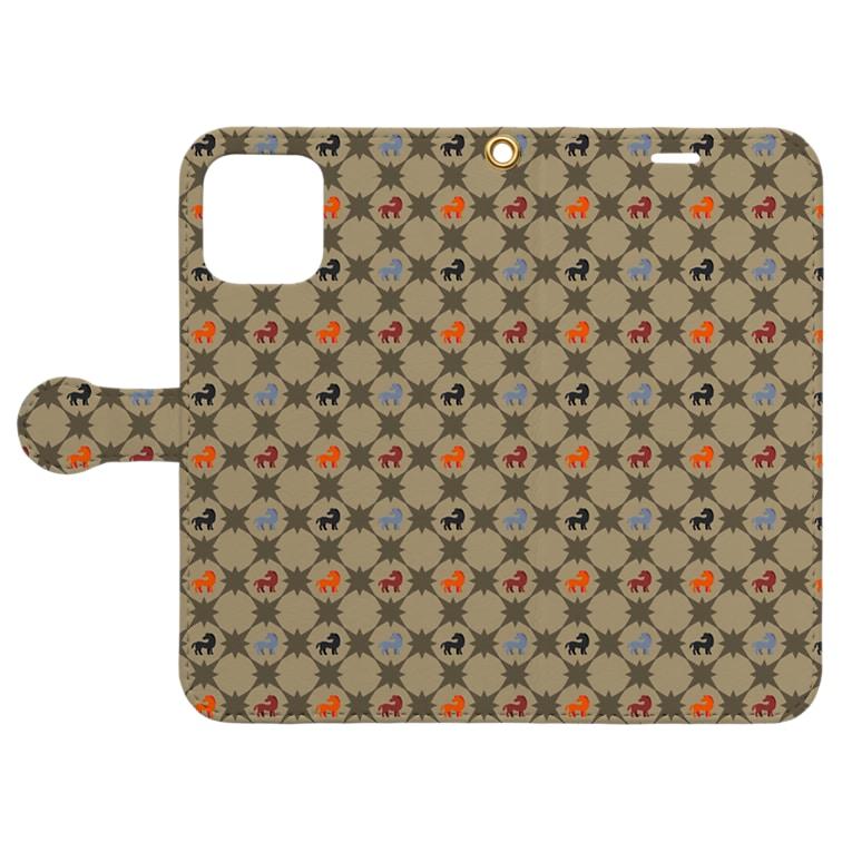 mint julepの左馬(まきびし柄) Book-style smartphone caseを開いた場合(外側)