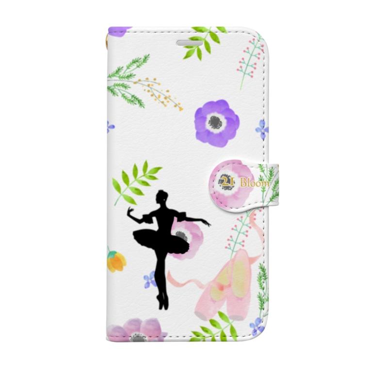バレエシルエット ballet*pointe_pon*の花柄バレエ21Bloom (オーロラ) Book-style smartphone case