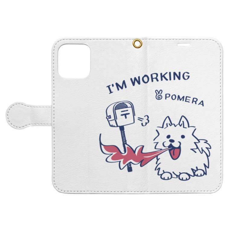 *suzuriDeMonyaa.tag*のCT47 POMERA_3 I'M WORKING Book-style smartphone caseを開いた場合(外側)