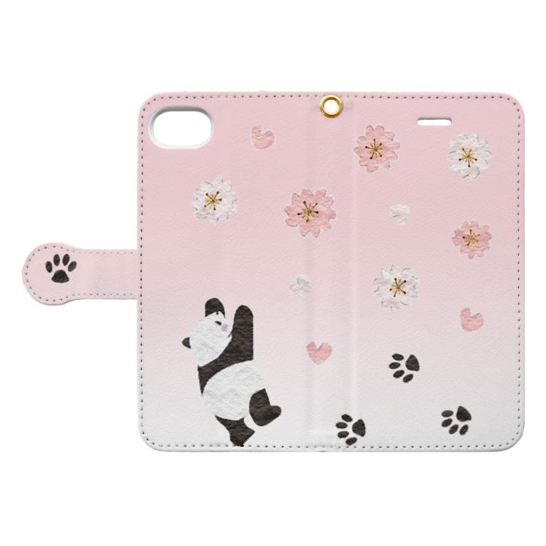 Tanaka Zabieru パンダショップの桜咲くパンダ Book-style smartphone caseを開いた場合(外側)