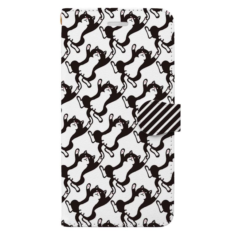 MIKA YADA illust shopの無限じゃれハチワレ猫/オス 手帳型スマートフォンケース Book-style smartphone case