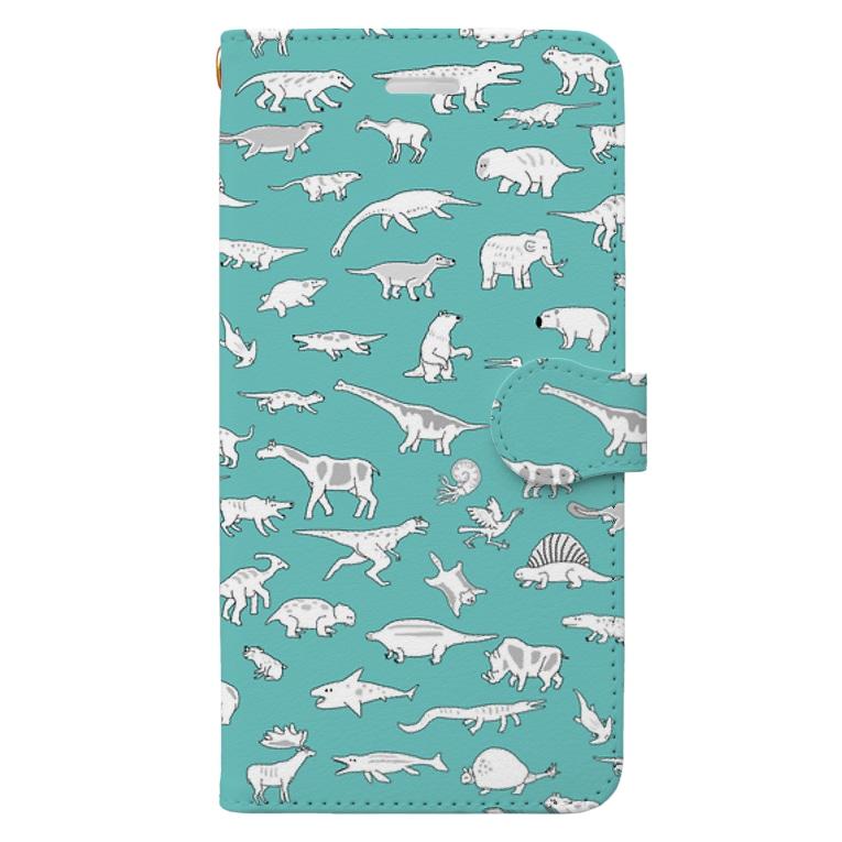 ホリゴメの絶滅した生き物 古生代〜新生代 アオ Book-Style Smartphone Case