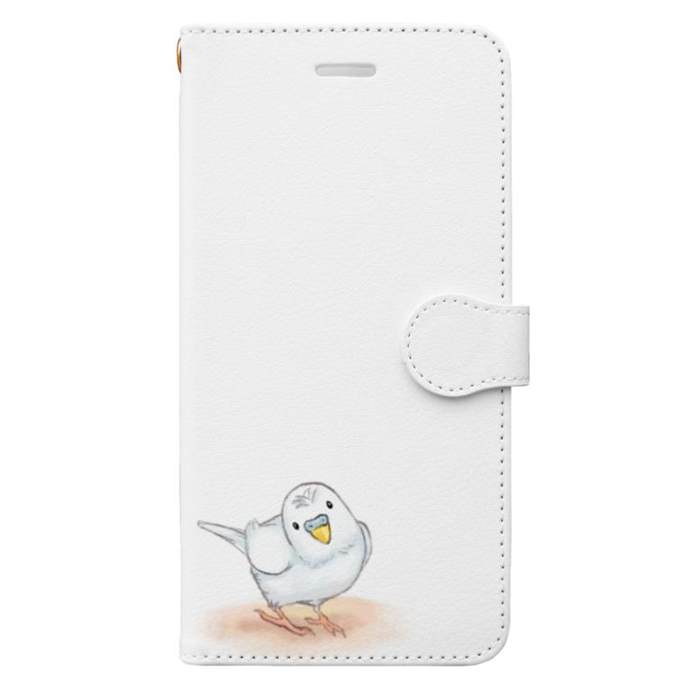 まめるりはことりのセキセイインコ レティ【まめるりはことり】 Book-style smartphone case