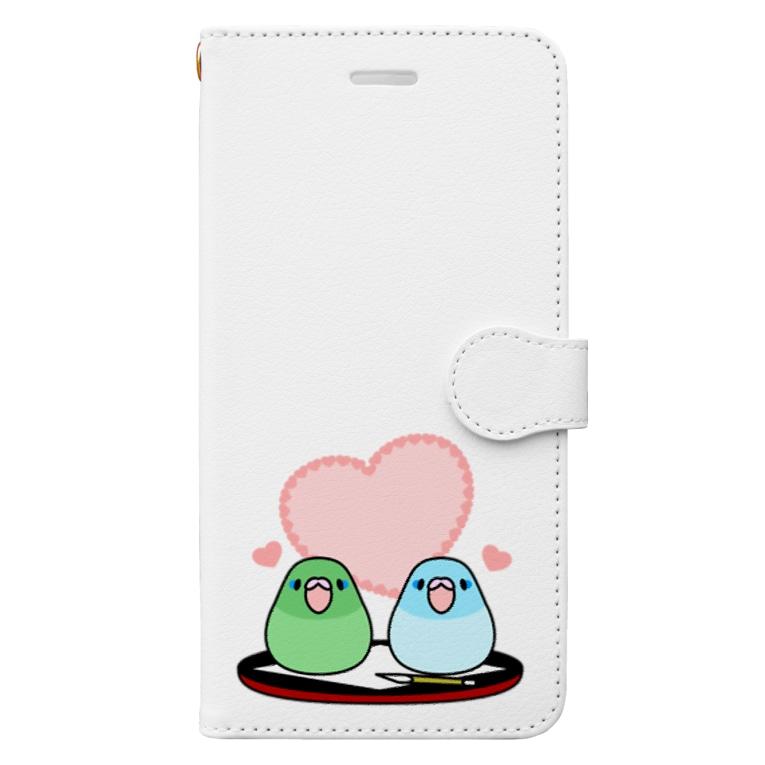 まめるりはことりのまめ大福マメルリハ【まめるりはことり】 Book-style smartphone case