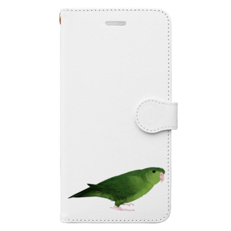 まめるりはことりのサザナミインコ グリーン【まめるりはことり】 Book-style smartphone case