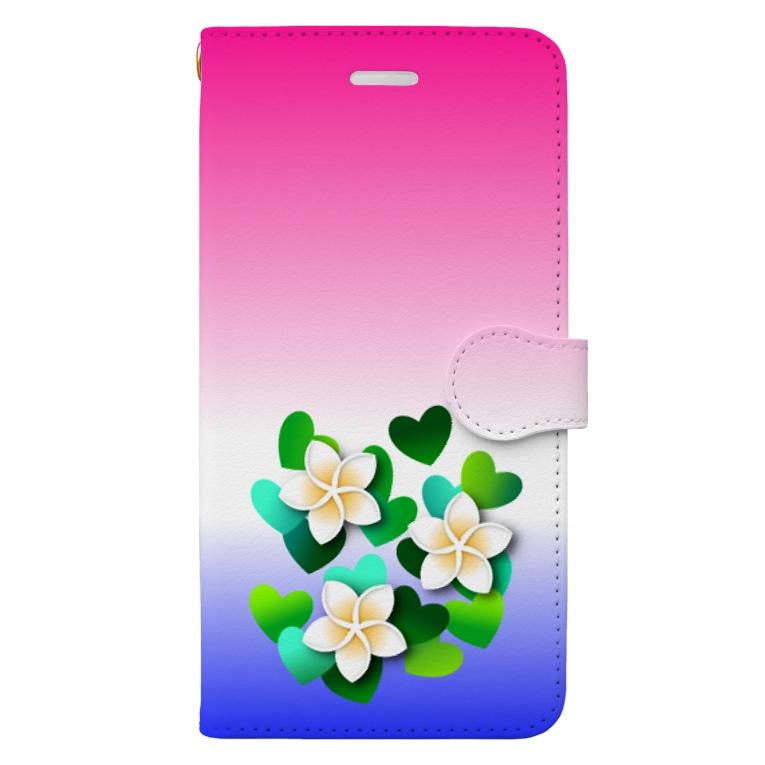 あきじあまみぃのプルメリアと緑のハート Book-style smartphone case
