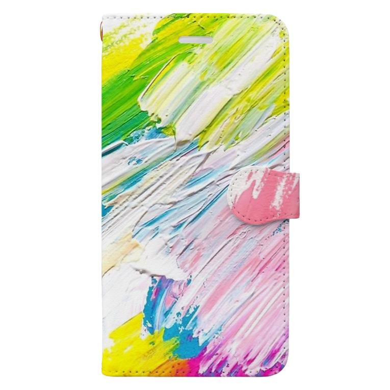 chiakiuedaの線がおりなすグラデーション Book-style smartphone case