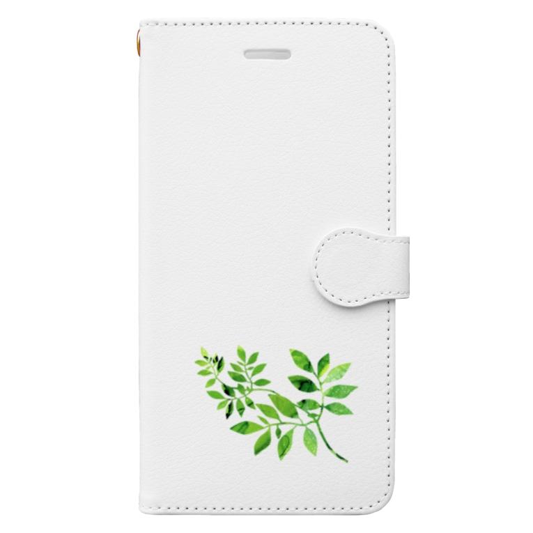 始季彩@suzuriのGreenLeaf Book-style smartphone case