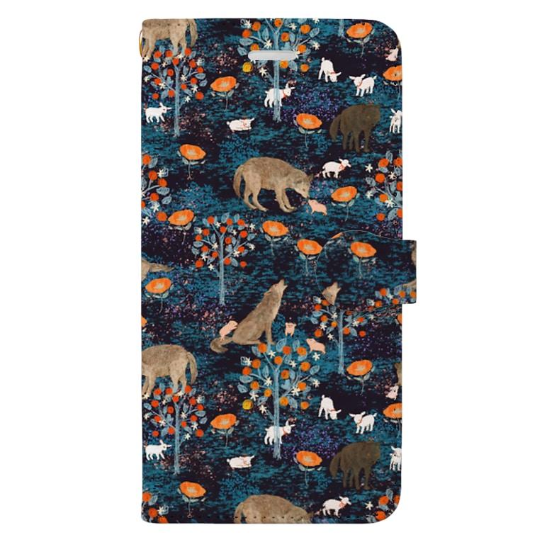 ルルエチュードのやさしいおおかみ(ブラック) Book-style smartphone case