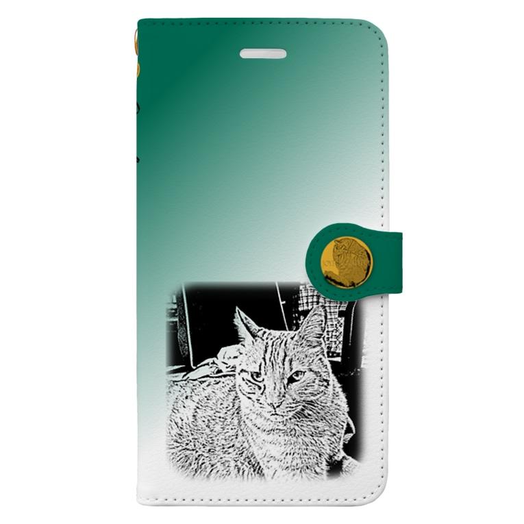 .JUICY-SHOP. | JOYFULのJOYFUL | Requesting Cat | 萌葱色 Book-style smartphone case