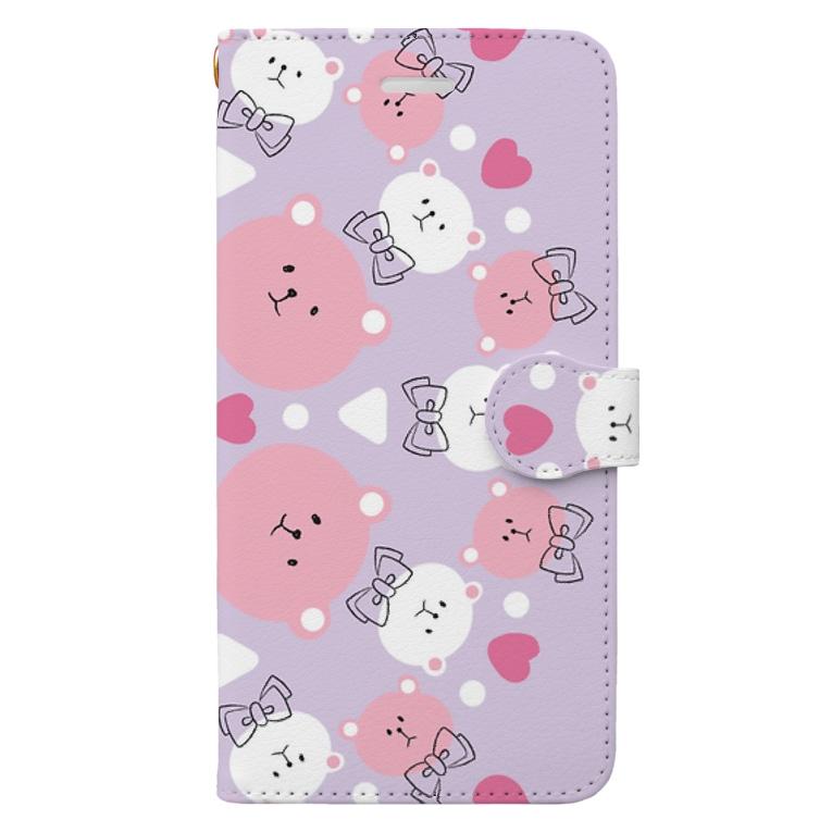 マリエフカツのPINKくま Book-style smartphone case