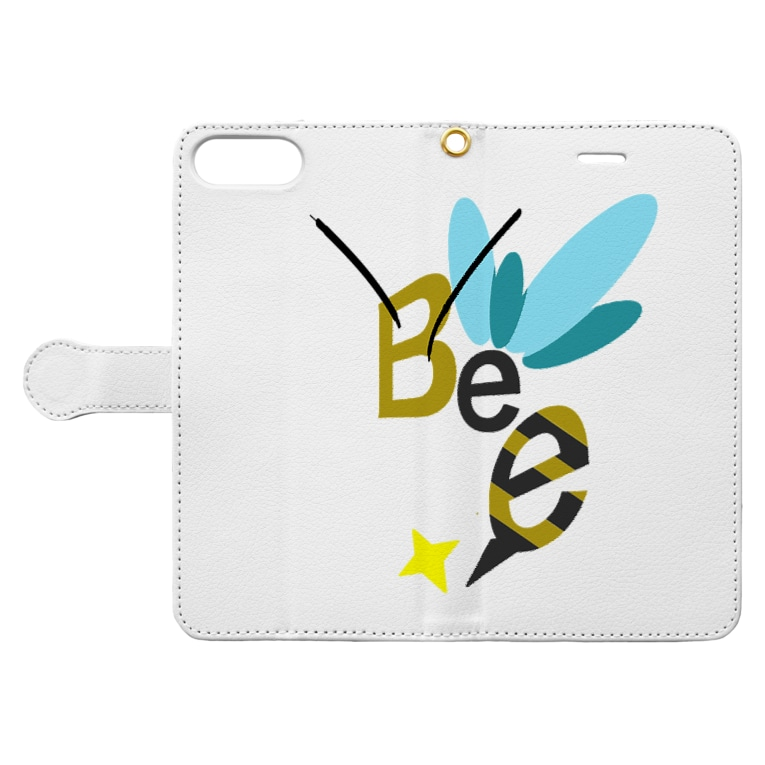 ハーフなお店のBee(蜂) Book-style smartphone caseを開いた場合(外側)