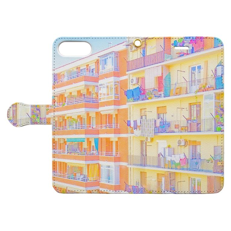 草笛鈴 / RIN KUSABUEの朝の街 洗濯物(彩) Book-style smartphone caseを開いた場合(外側)