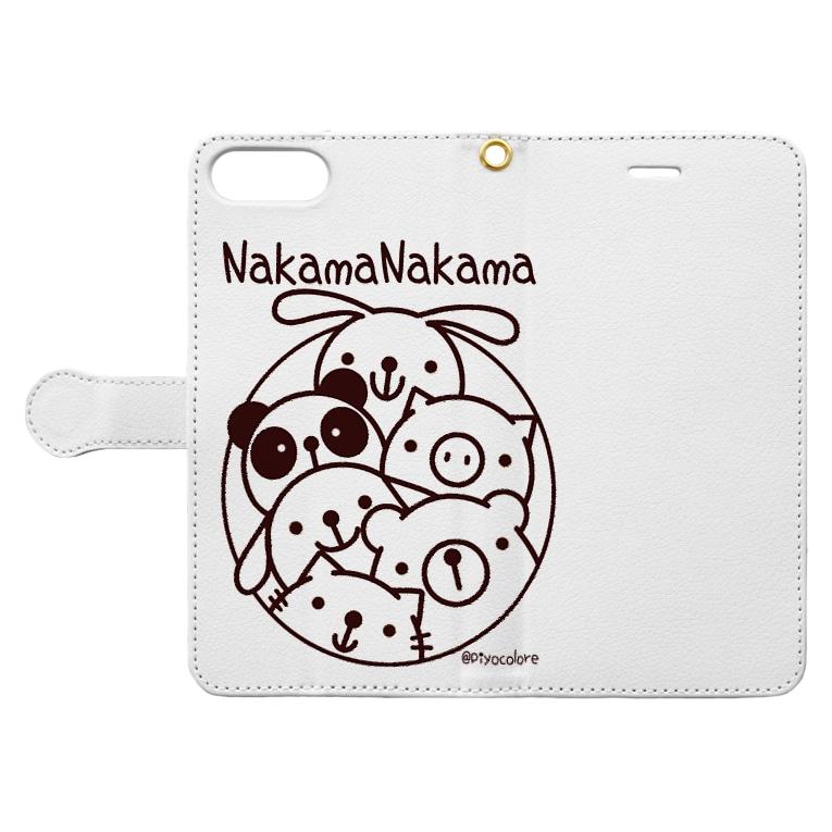 Piyocoloreの仲間ナカマ Book-style smartphone caseを開いた場合(外側)
