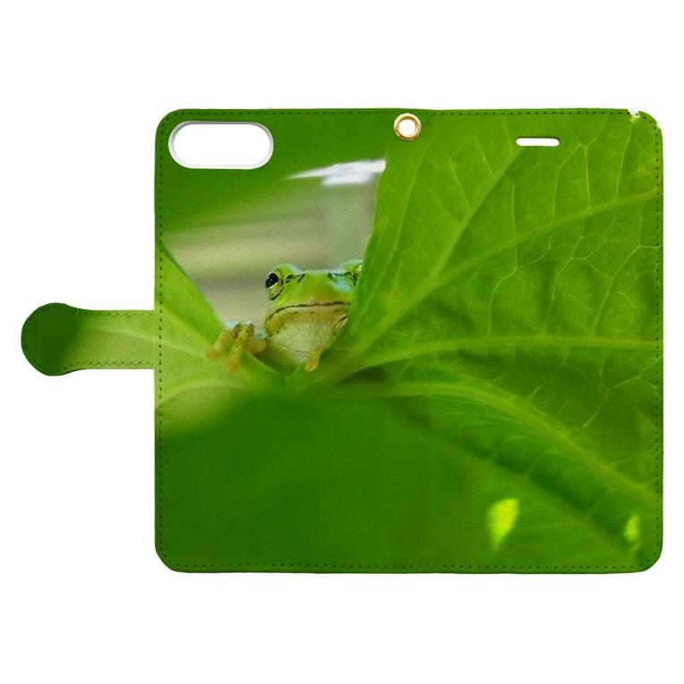 Qoo3のゴーヤ葉とカエルさん Book-style smartphone caseを開いた場合(外側)