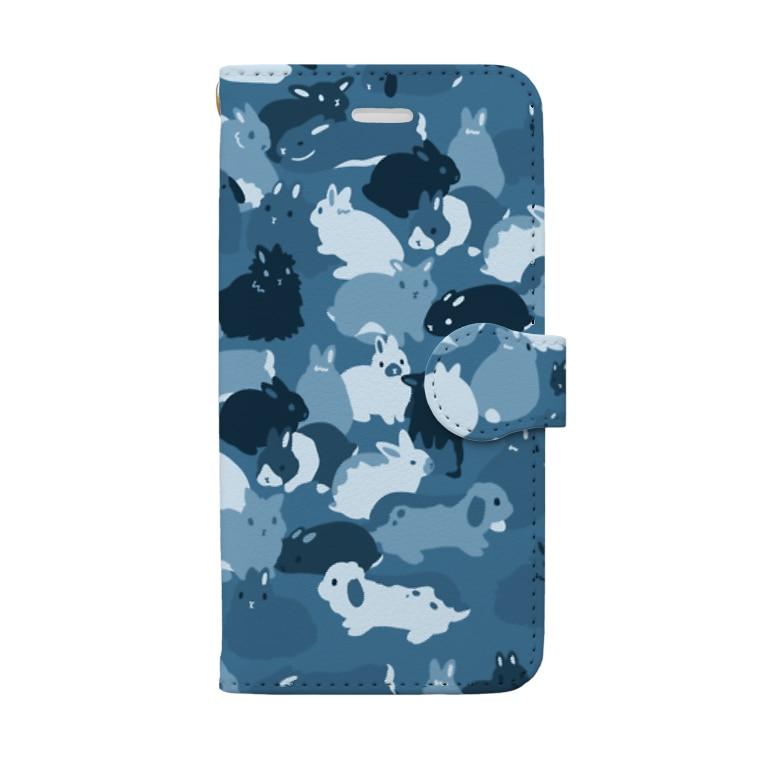 大賀一五の店のうさぎの迷彩・青 Book-Style Smartphone Case