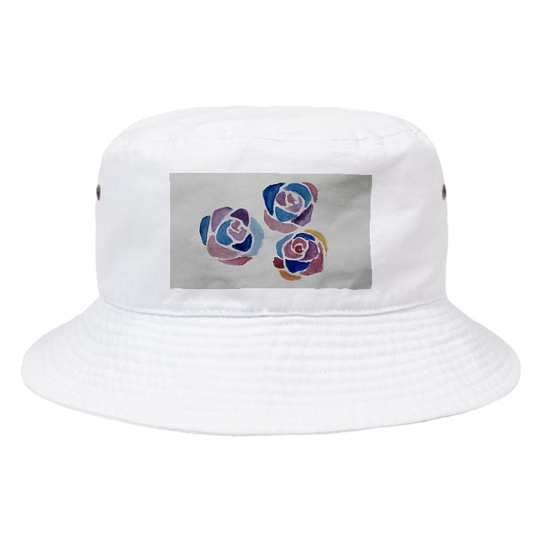 13's SHOPの水彩画プリント『薔薇』 Bucket Hat