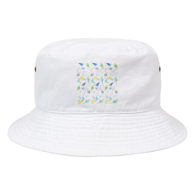 まめるりはことりのたくさんセキセイインコちゃん【まめるりはことり】 Bucket Hat