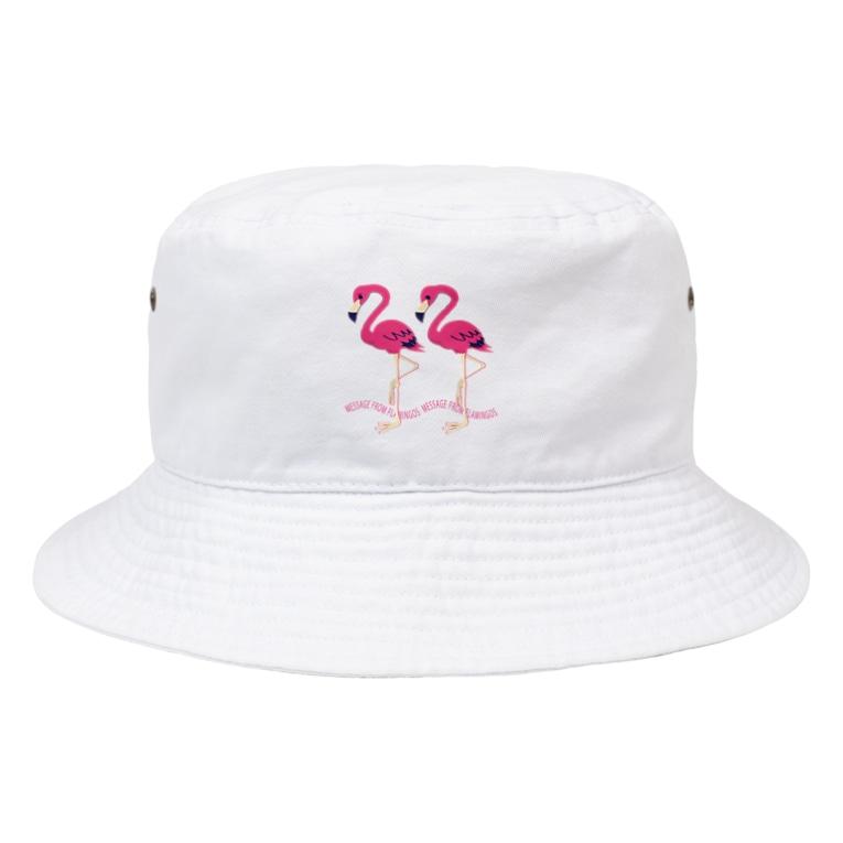 *suzuriDeMonyaa.tag*のCT103 22*フラミンゴのメッセージA Bucket Hat