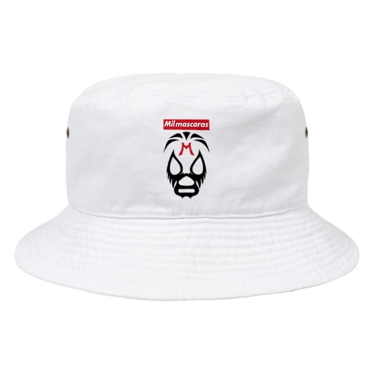 DRIPPEDのMIL MASCARAS-ミル・マスカラス-赤ボックスロゴ Bucket Hat