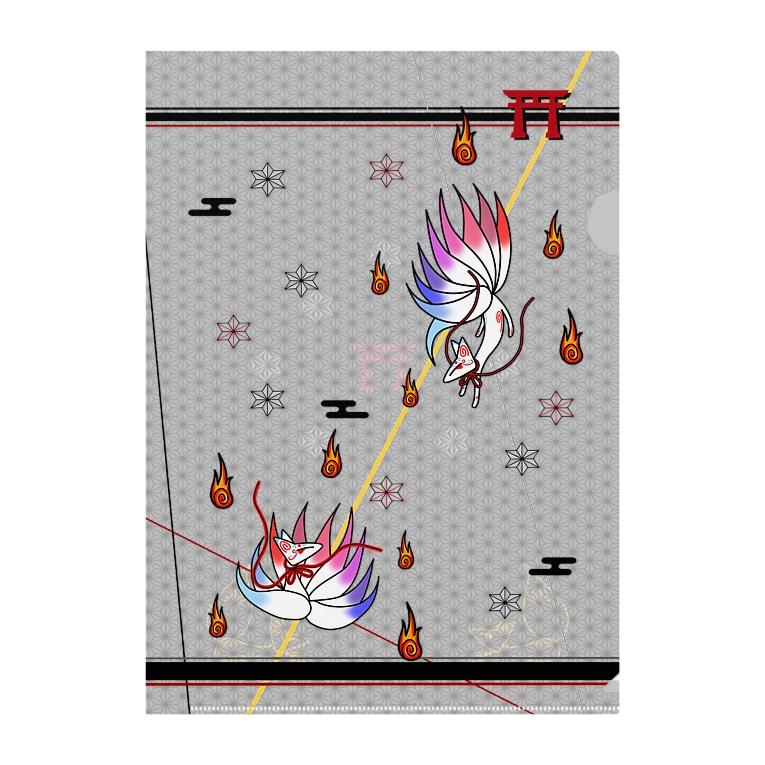 にゃーにゃー組@LINEスタンプ*絵文字販売中!の九尾(双子の妖狐*吹雪と焔) Clear File Folder