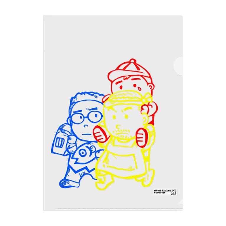 TOMMY★☆ZAWA ILLUSTRATIONの「たすけあい。三兄弟。」 Clear File Folder