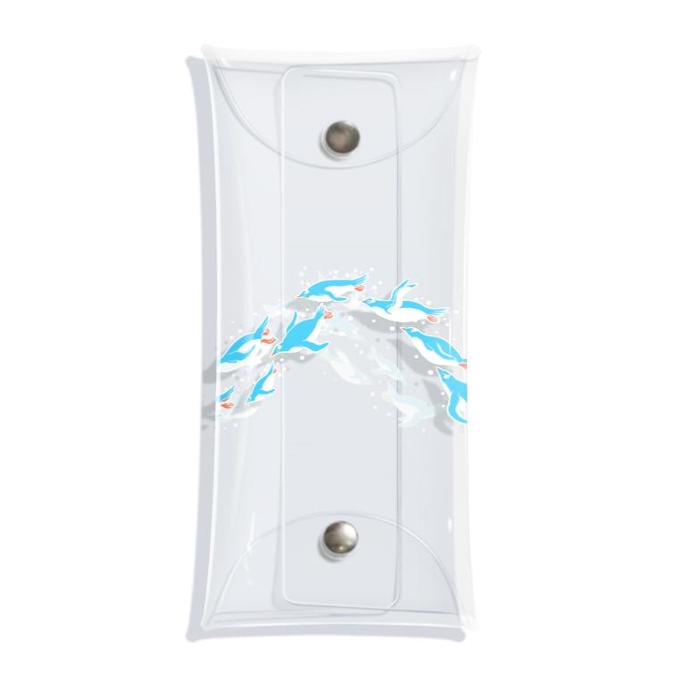 ハルノキ工房のグラスを泳ぐペンギン(水色シンプル) Clear Multipurpose Case