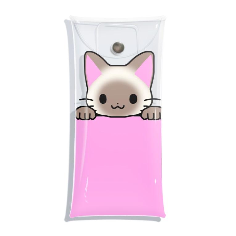 ゆめかわ屋 いそぎんちゃくのひょっこりポインテッド猫 ピンク Clear Multipurpose Case