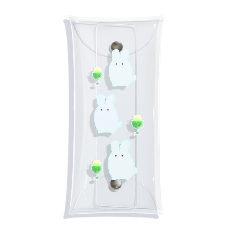 なでしこ@デザインの白うさぎ3羽とメロンクリームソーダ Clear Multipurpose Case
