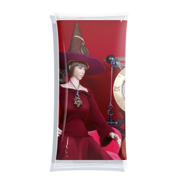 FUCHSGOLDの人形写真:美少女魔女と機械時計 Doll picture: Witch and clock Clear Multipurpose Case