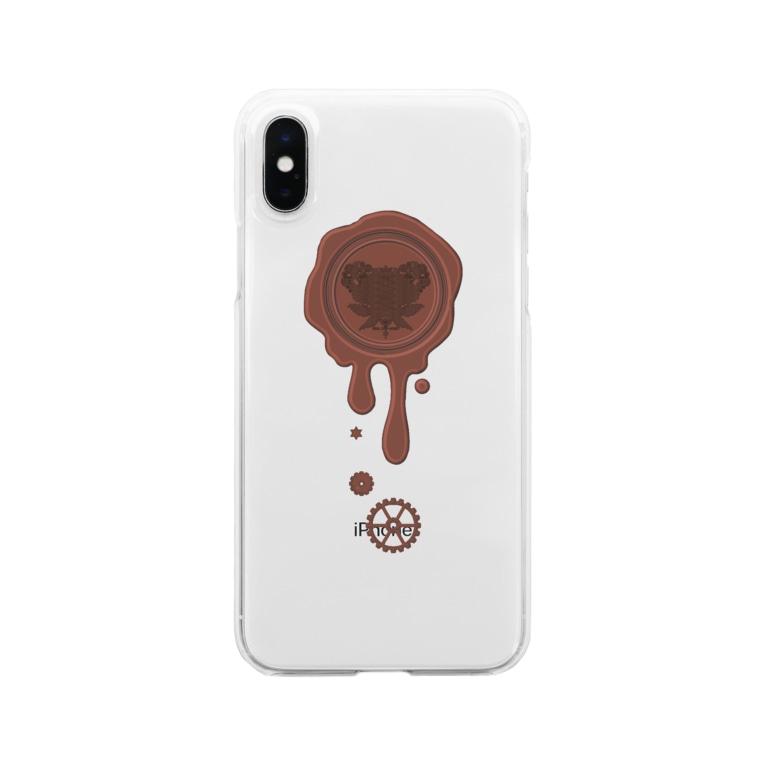 healing-honey(ヒーリングハニー)のチョコ好きさんへ♪【ミルクチョコ】healing-honey蝋封風ロゴモチーフ Clear smartphone cases