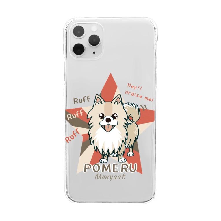 *suzuriDeMonyaa.tag*のぽめるはポメラニアン*クリアスマホケース Clear smartphone cases