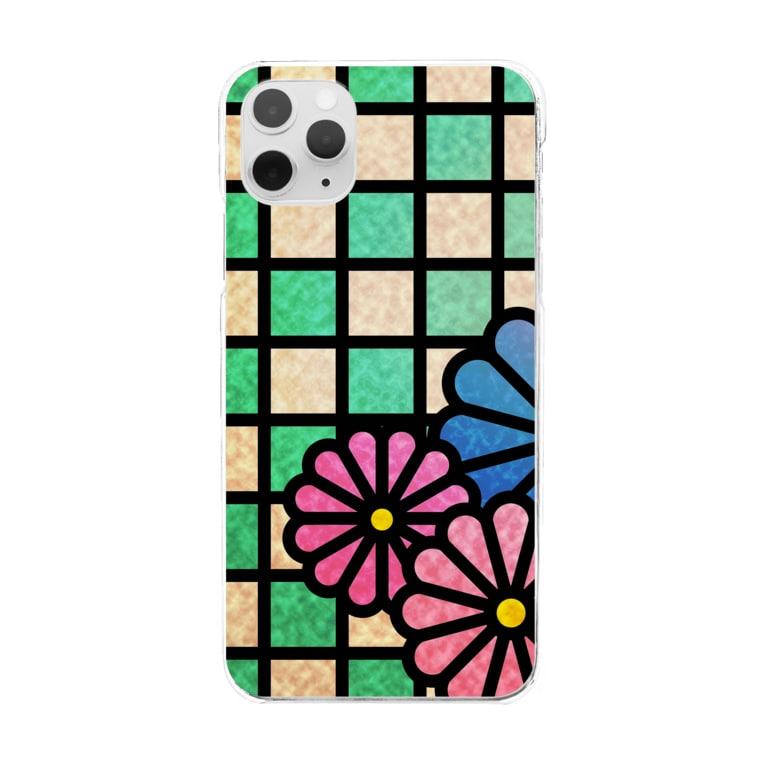 ねこやなぎ屋の和柄ステンドグラス風(菊×市松)全面ver Clear smartphone cases