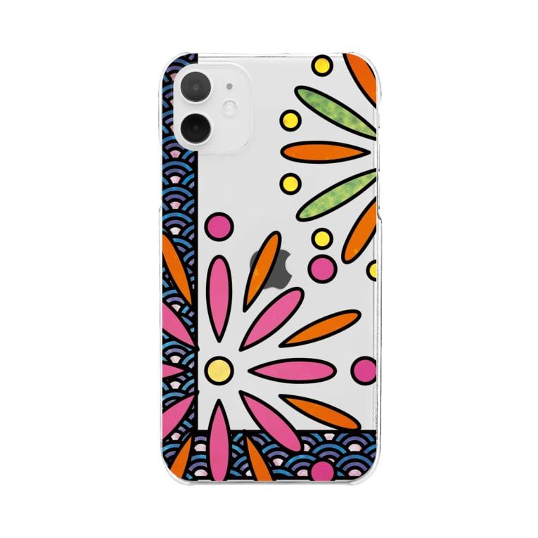 ねこやなぎ屋の和柄ステンドグラス風(花火×青海波) Clear smartphone cases