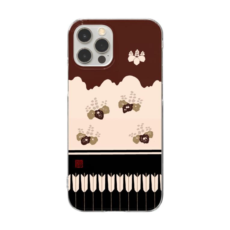 Rigelの胴服 染分練貫地桐矢襖文様辻が花柄 クリアスマホケース 角印ロゴ Clear smartphone cases