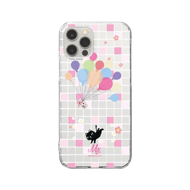 *suzuriDeMonyaa.tag*の1902 やみねこ*風船の種 Clear smartphone cases