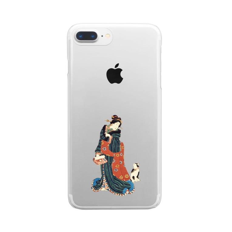 猫の浮世絵・草紙の美女の言いつけを聞く猫 Clear smartphone cases