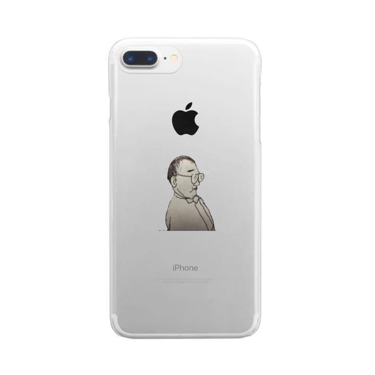 長塚の一SHOPのちびでぶはげめがね Clear smartphone cases