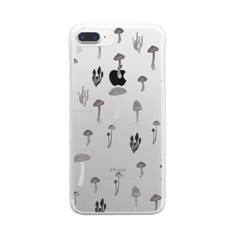 たえこのきのこずかんモノトーン Clear smartphone cases