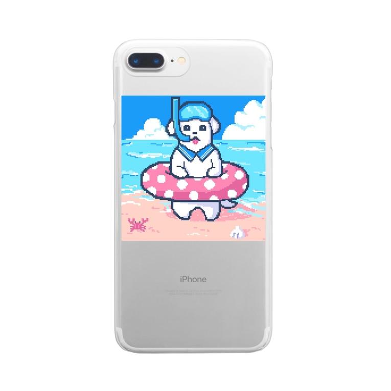 SWEET&SPICY 【すいすぱ】の🐶夏が楽しみすぎる犬🌞🌊(ドット) Clear smartphone cases