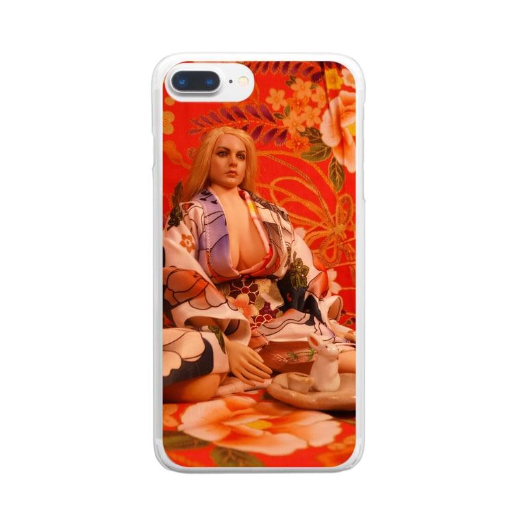 FUCHSGOLDの人形写真:着物の美少女と兎の香立て Doll picture: Blonde Kimono girl Clear smartphone cases