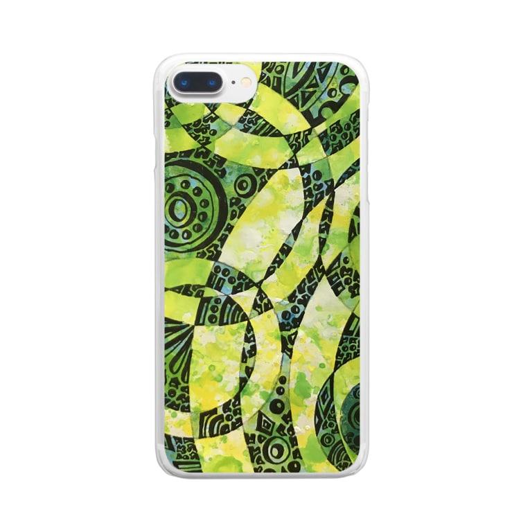 SENA0107のタンポポの花畑 Clear smartphone cases